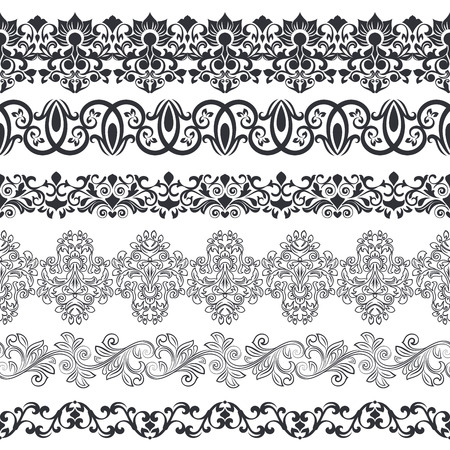 black borders: Seamless floral border vector template. Ornament repeating divider. Illustration