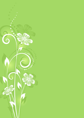 flower layout: Abstract white flower on green background spring vector card. Illustration