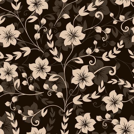 Fond d'écran sans soudure vecteur fleur noir et beige ou un motif de papier d'emballage.