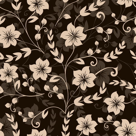 Seamless black and beige flower vector background wallpaper or wrapping paper pattern.