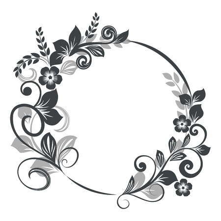 Vintage Black And White Round Floral Frame Vector Illustration ...