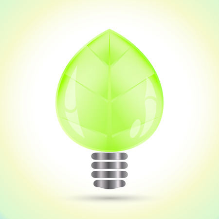 Light bulb in the shape of green leaf vector illustration. Power saving concept. Illustration