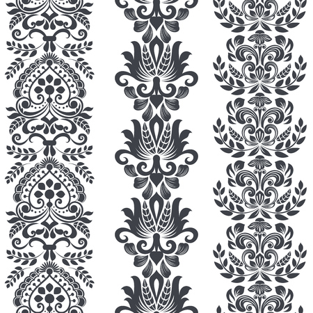 Seamless floral vertical border vector template. Ornament repeating divider. Illustration