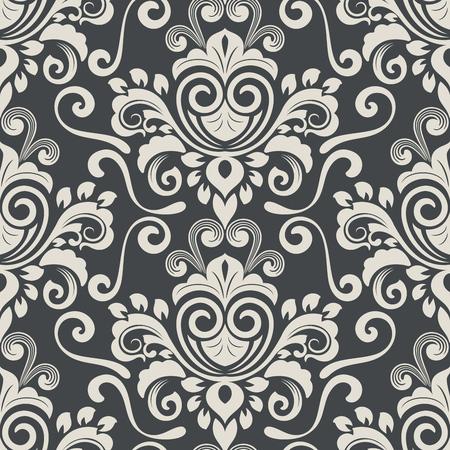 Illustration vectorielle de motif de fond d'écran vintage noir et blanc foncé.