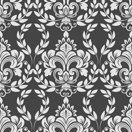Black And White Vintage Wallpaper Pattern Vector Illustration