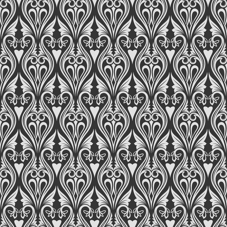 Seamless black and white floral wallpaper vector background.