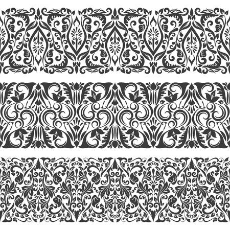 Seamless floral border vector template. Ornament repeating page divider. Vektoros illusztráció
