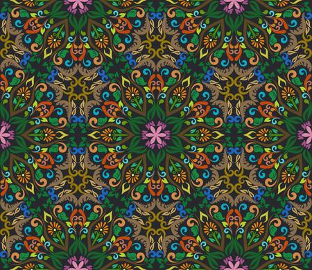 fresco: Seamless vintage ornate hexagon ordered floral vector pattern. Retro floral wallpaper.