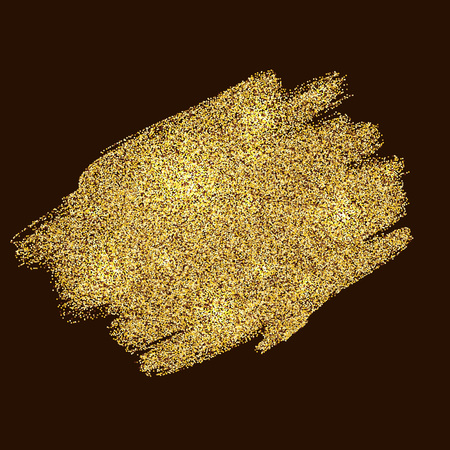 Gold tinsel abstract paint strokes festive vector background.