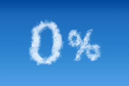 Blue sky with 0% cloud shape poster template. 3D rendering.