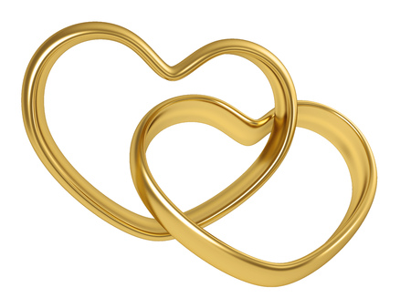 linked: Two linked golden rings in the shape of heart isolated on white background. 3D rendering.