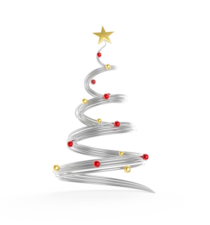 Metal rails Christmas tree with red and gold decoration balls on white background. 3D rendering. Stock Photo