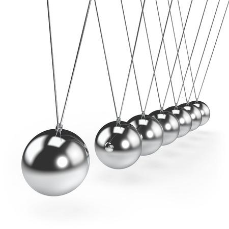 Balancing balls Newtons cradle pendulum concept. 3D rendering.