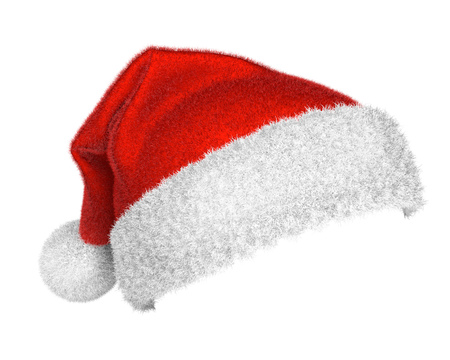 Traditional Santa Claus red and white hat isolated on white background. Christmas symbol. 3D rendering.