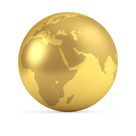 Gold globe isolated on white background. 3D rendering. Global business concept. Earth side view - Europe, Africa, Asia.