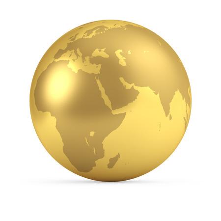 Goldkugel lokalisiert auf weißem Hintergrund. 3D-Rendering. Globales Geschäftskonzept. Seitenansicht der Erde - Europa, Afrika, Asien. Standard-Bild - 89627974