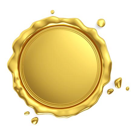 Sceau de cire vierge royale dorée isolé sur fond blanc. Rendu 3D Banque d'images