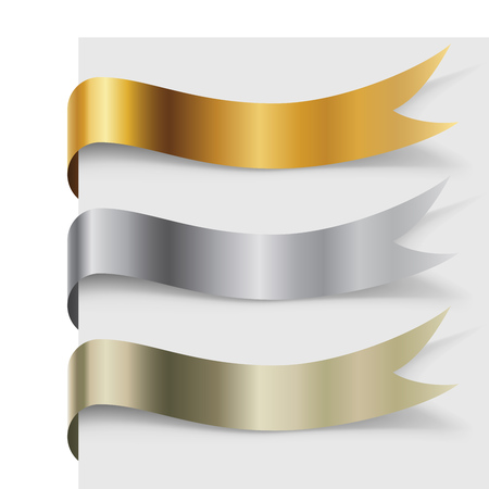 Blank metal wavy banners set turning around the page vector template. Çizim