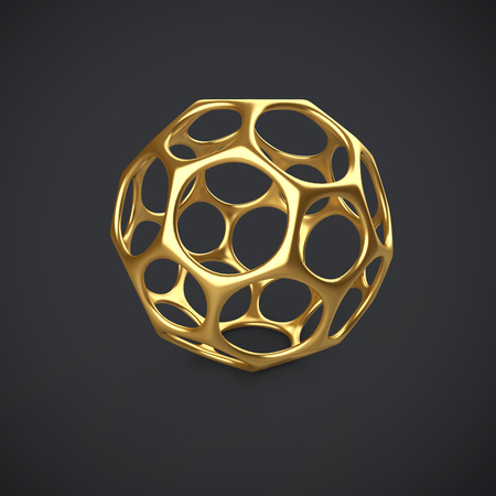 3d gold wireframe ball isolated on dark grey background. 3D rendering. Abstract golden decoration.
