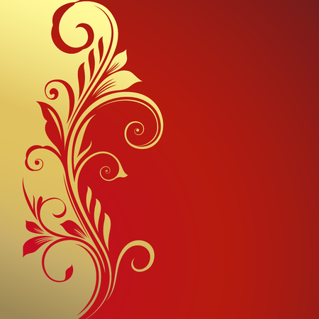 Golden and red floral card vector template. Illustration
