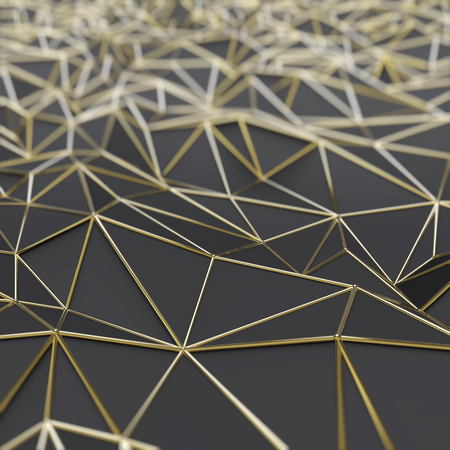 Abstract black polygons with gold frame 3D rendering background.