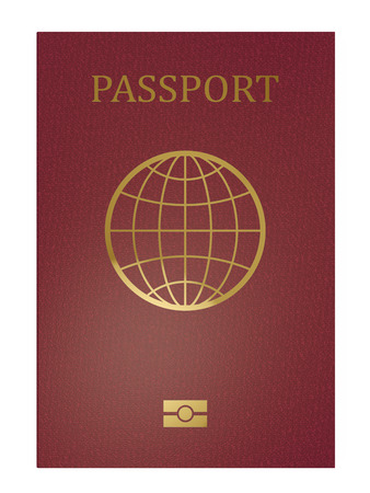 Red international passport front cover isolated on white background. 3D rendering. Stock Photo