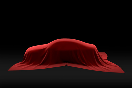 Car under the red cloth cover. Automobile presentation of a new model. 3D illustration. Imagens