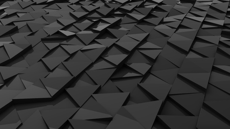 Abstract black 3D triangle shapes horizontal background. 3D rendering. Stock fotó