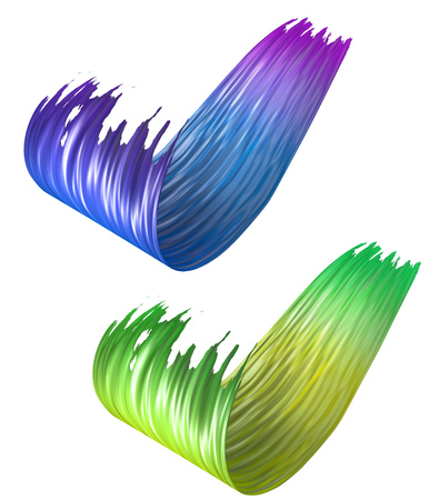 Colorful 3D curled brush paint strokes isolated on white background. 3D rendering. Colorful joyful design with copy space. Color oil paint circular smear.