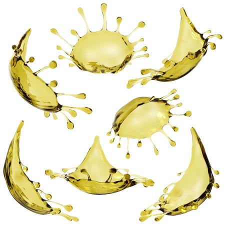 Oil splash set isolated on white background. 3D rendering.