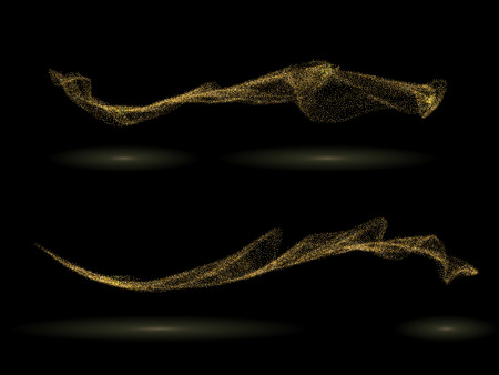 Gold tinsel stardust waves on white background. Golden glittering trails Magical holiday background. Luxury design elements. Vector illustration
