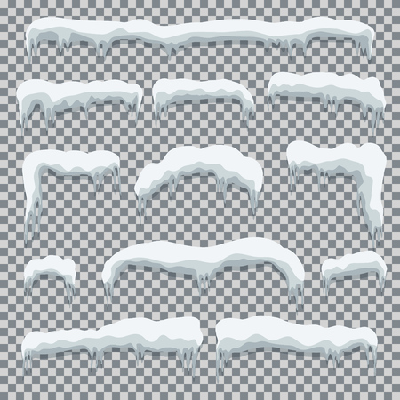 White snow caps set in cartoon style with shadow effect Vector illustration 向量圖像