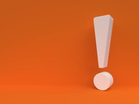 Blanco signo de exclamación contra la pared naranja. Plantilla de diseño de libro de respuestas. Importancia ?oncept fondo. Representación 3D