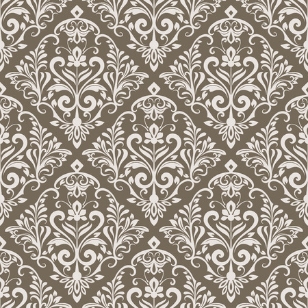 Beige and white floral wallpaper pattern template.