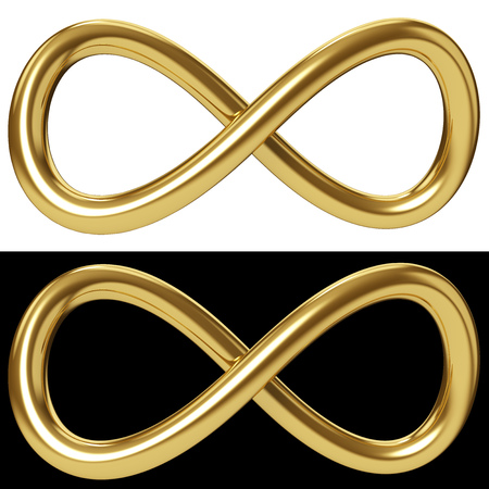 Goldunendlichkeitsschleife lokalisiert auf weißem und schwarzem Hintergrund. Goldene Möbius Schleife Zeichen. 3D-Rendering.
