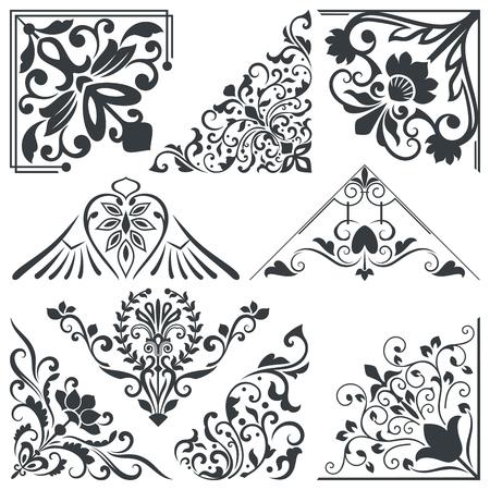 Vintage decoratieve bloemen hoek ontwerp elementen vector set Vector Illustratie