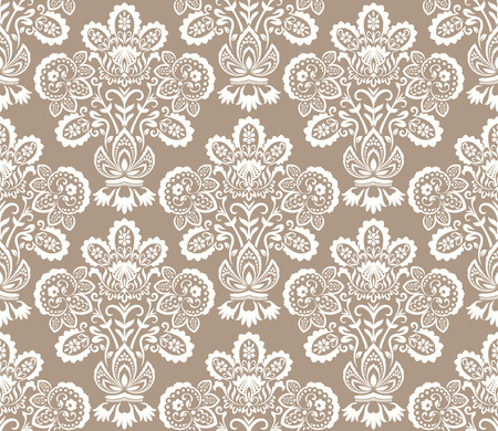 Seamless beige and white floral wallpaper vector background Stock Illustratie