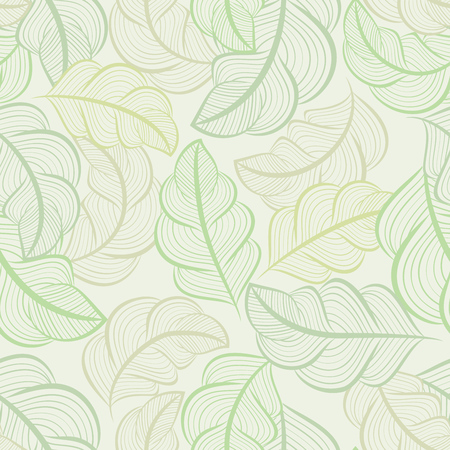 White and green seamless leaves wallpaper pattern
