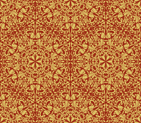 Seamless yellow and dark red floral wallpaper vector background. Vintage damask pattern backdrop.  イラスト・ベクター素材