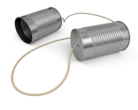 Two tin cans connected with cord. Communication business concept. Linked preserve tins on white background. 3D rendering. Foto de archivo
