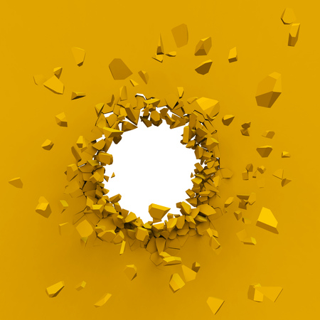 Yellow wall explosion with white copy space background. Thick wall breaking through. 3D rendering.