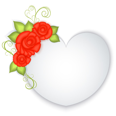 White blank paper heart with red roses decoration. Valentines Day greeting card. Wedding invitation template. Vector illustration.
