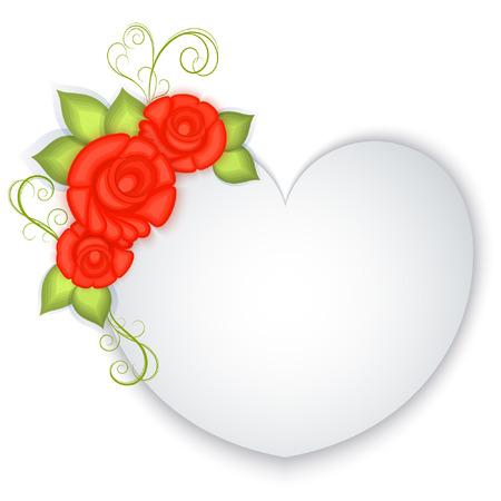 Wit blanco papier hart met rode rozen decoratie. Valentijnsdag wenskaart. Bruiloft uitnodiging sjabloon. Vector illustratie