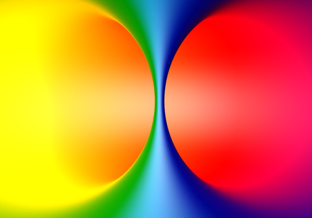 Torus inside surface colored in spectrum gradient. Fun background. 3D rendering.  Stock Photo