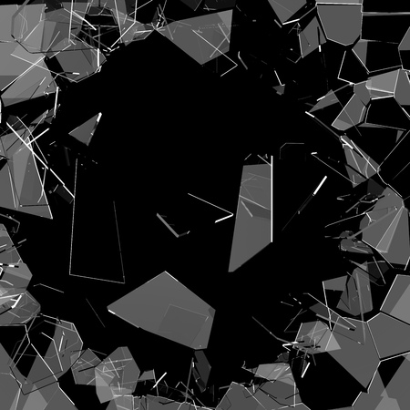 Shattered glass with glass shards flying to bits background. 3D rendering.