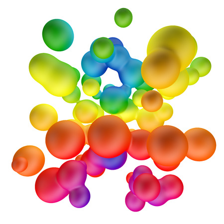 Colorful gradient metaballs abstract background. 3D rendering.  Imagens