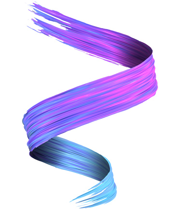 Colorful blue to magenta 3D brush paint stroke swirl isolated on white background. 3D rendering. Colorful joyful design with copy space. Color oil paint curved smear.