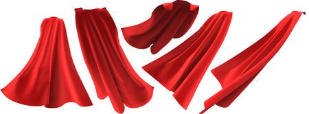 Roter Umhangsatz des Superhelden lokalisiert auf weißem Hintergrund. 3D-Rendering. Vorder-, Rück- und Seitenansicht. Supermacht-Konzept.
