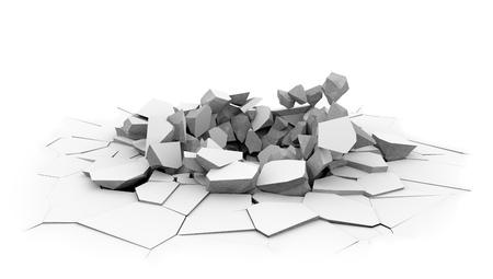Agujero de cáscara de piso de losa de hormigón aislado sobre fondo blanco. Objeto pesado caído a tierra dint. Superficie del suelo estrellada. Representación 3D.