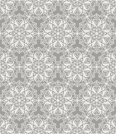 Beige and white seamless floral wallpaper pattern vector template. Seamless wrapping paper, textile or upholstery print. Vector illustration. Ilustração